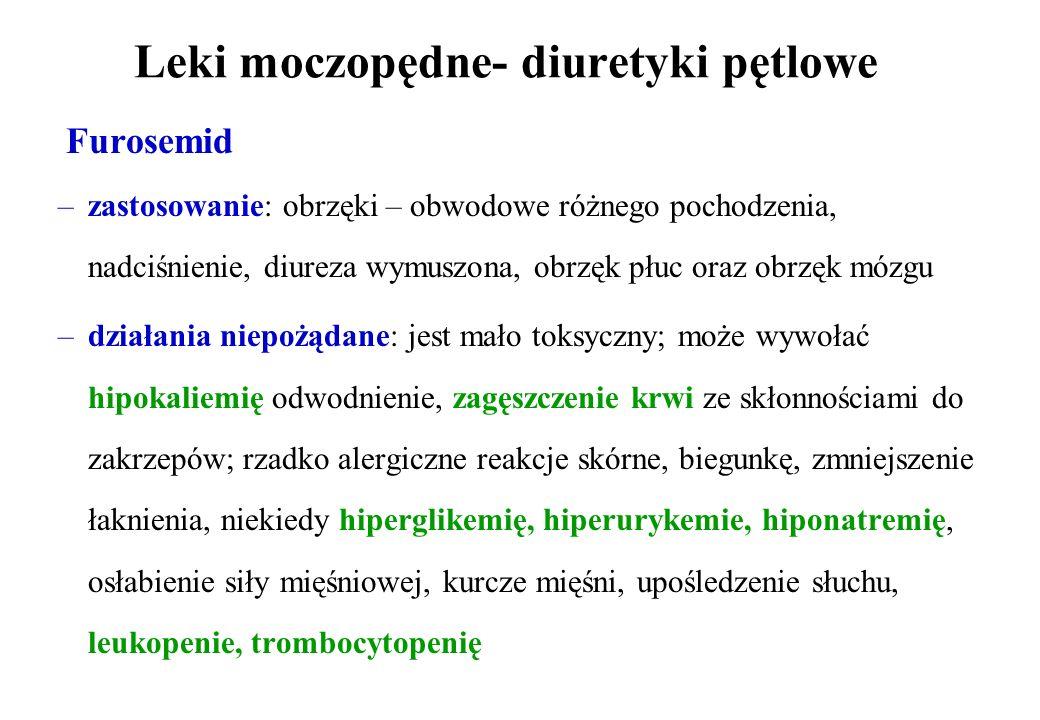 Leki moczopędne- diuretyki pętlowe
