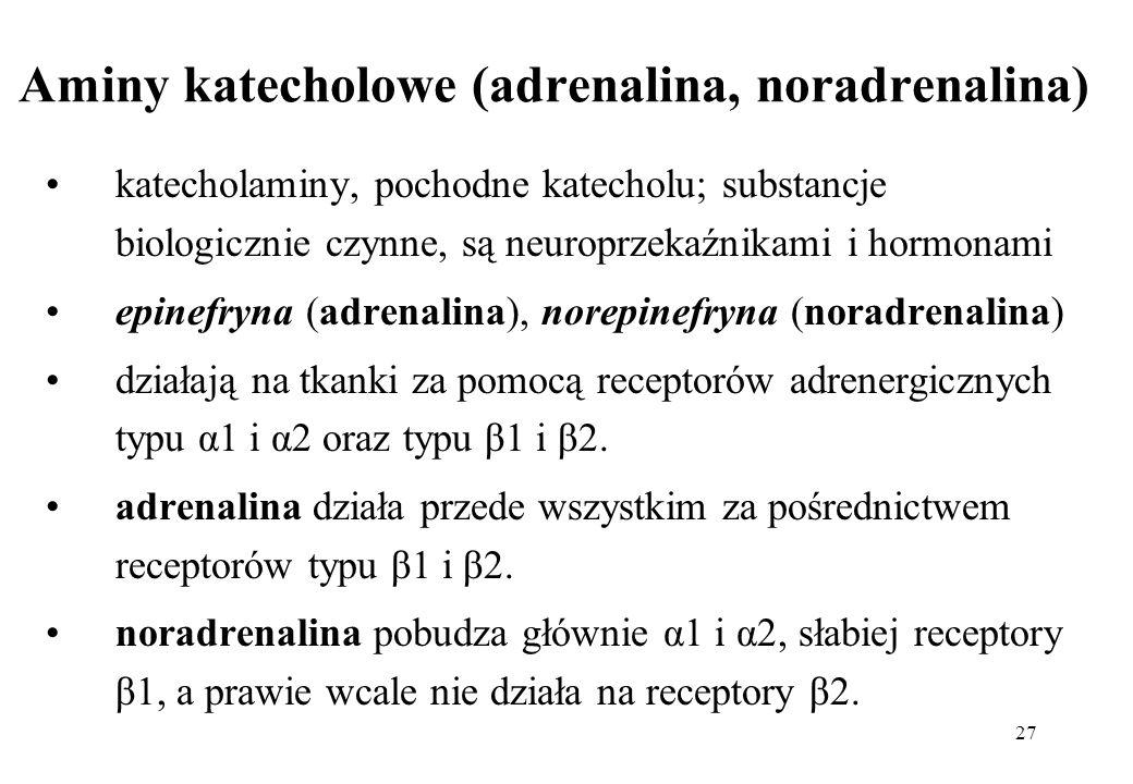 Aminy katecholowe (adrenalina, noradrenalina)