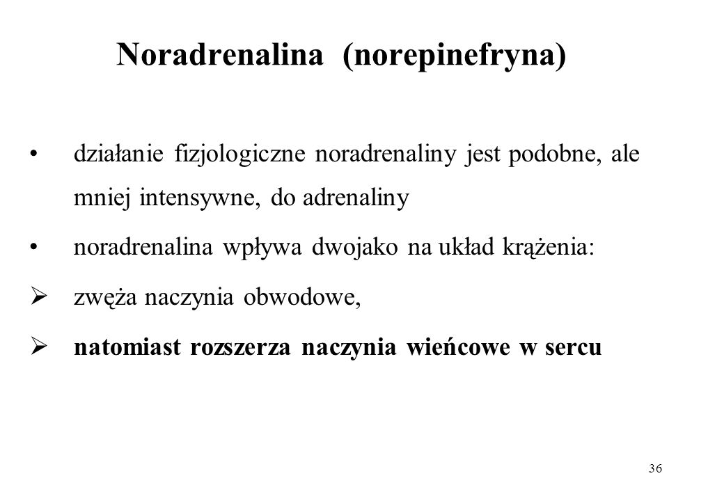 Noradrenalina (norepinefryna)