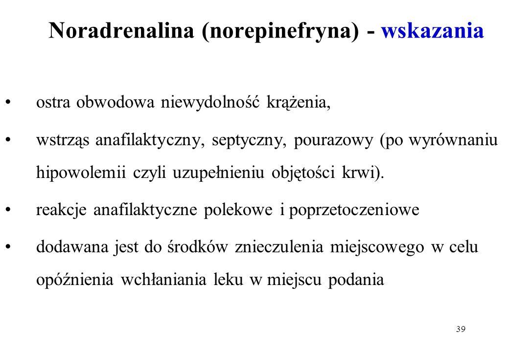 Noradrenalina (norepinefryna) - wskazania