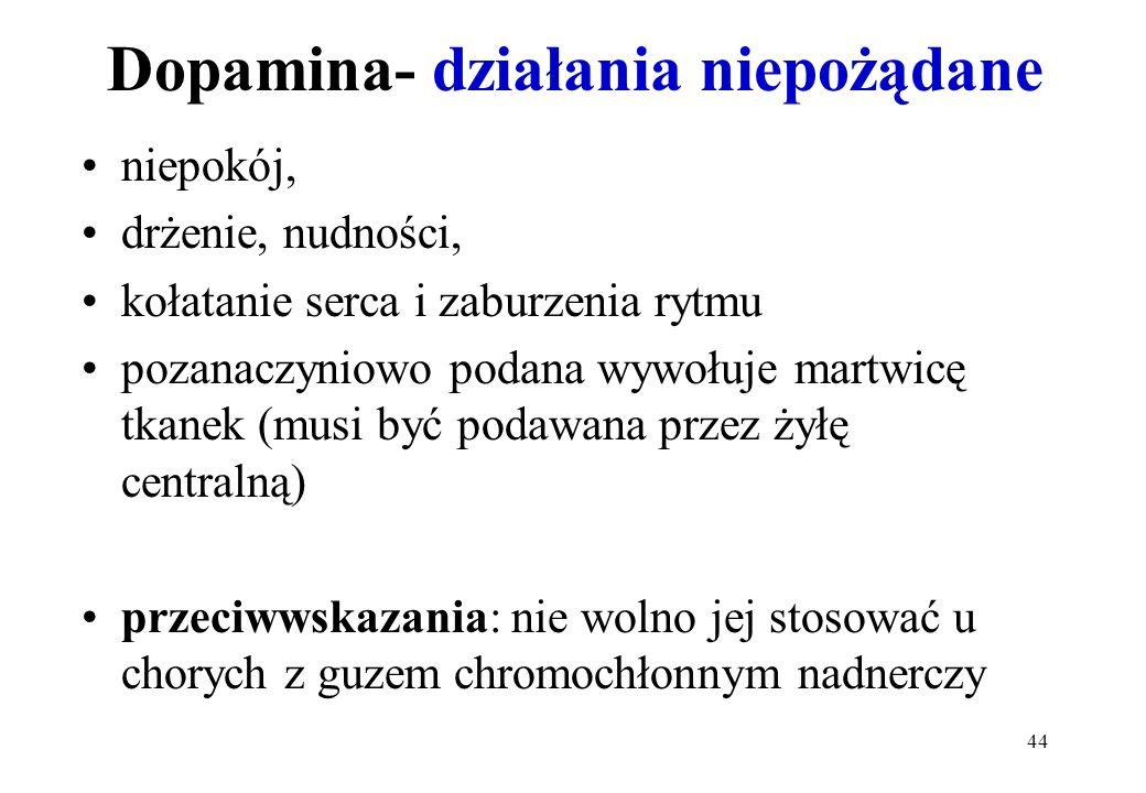 Dopamina- działania niepożądane