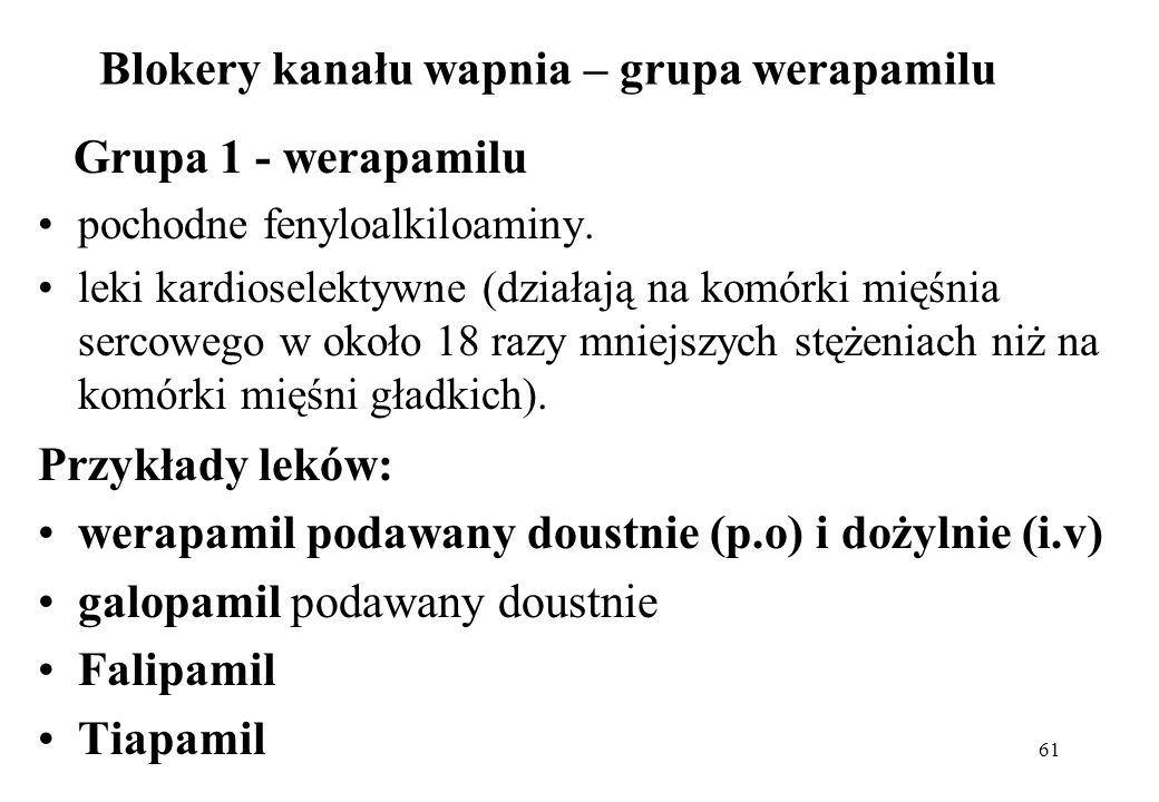 Blokery kanału wapnia – grupa werapamilu