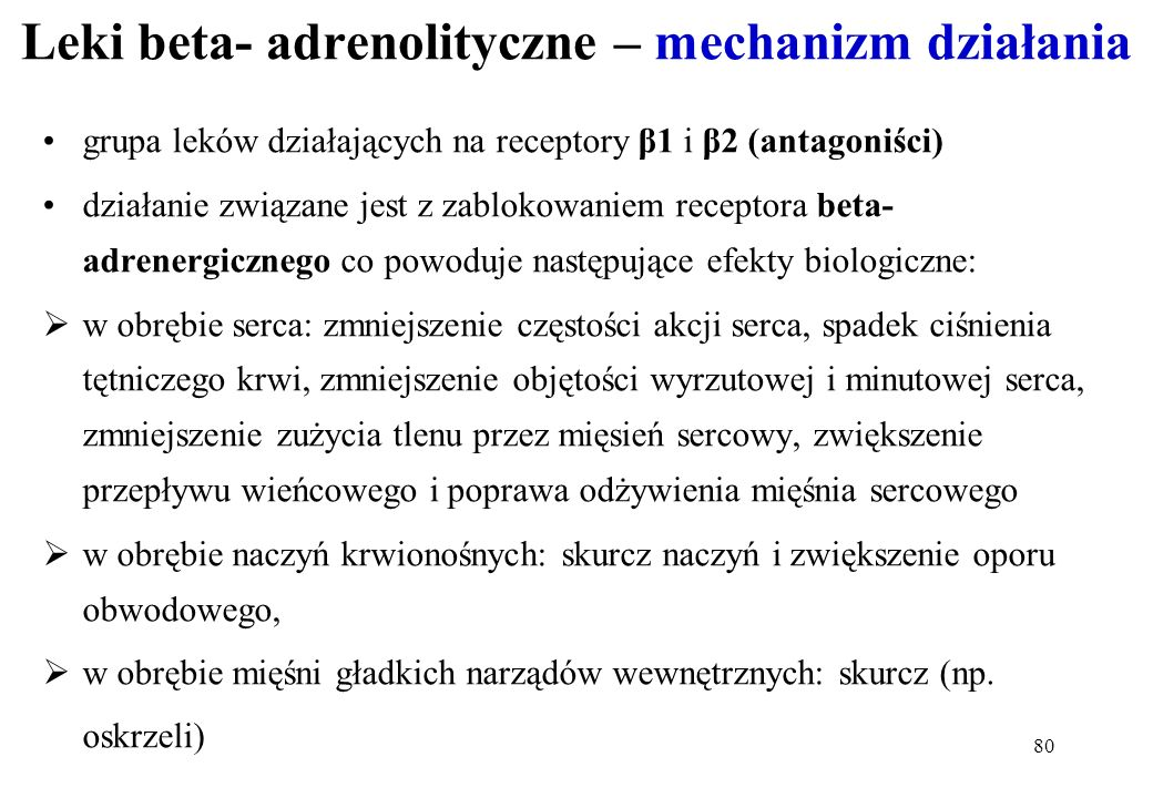 Leki beta- adrenolityczne – mechanizm działania