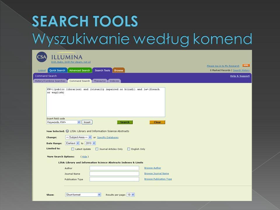 SEARCH TOOLS Wyszukiwanie według komend