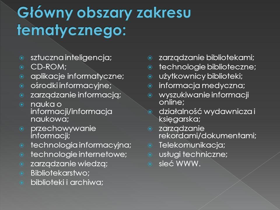 Główny obszary zakresu tematycznego:
