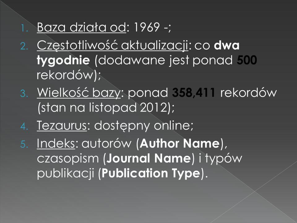 Baza działa od: 1969 -; Częstotliwość aktualizacji: co dwa tygodnie (dodawane jest ponad 500 rekordów);