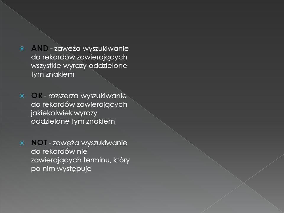 AND - zawęża wyszukiwanie do rekordów zawierających wszystkie wyrazy oddzielone tym znakiem