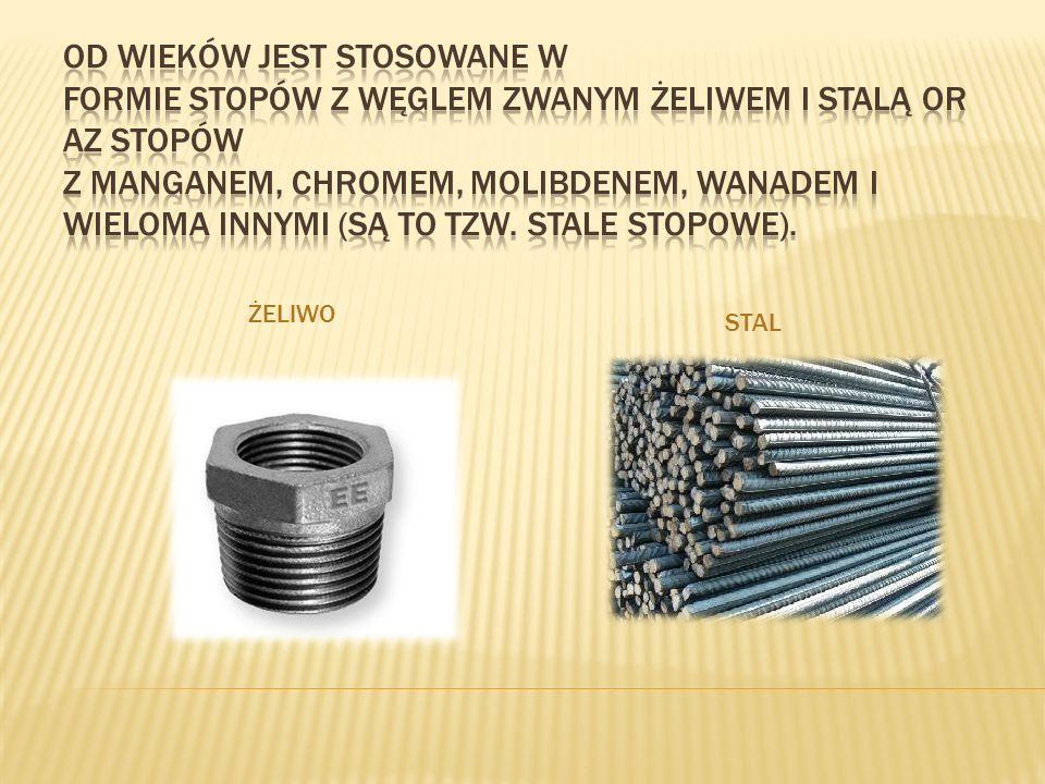 Od wieków jest stosowane w formie stopów z węglem zwanym żeliwem i stalą oraz stopów z manganem, chromem, molibdenem, wanadem i wieloma innymi (są to tzw. stale stopowe).