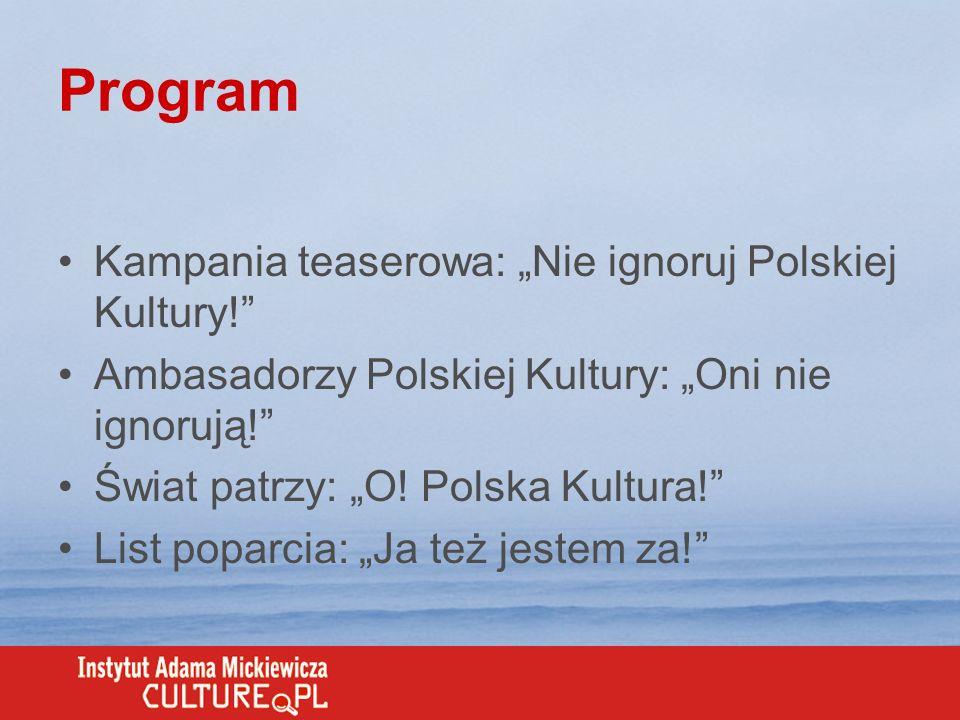 """Program Kampania teaserowa: """"Nie ignoruj Polskiej Kultury!"""