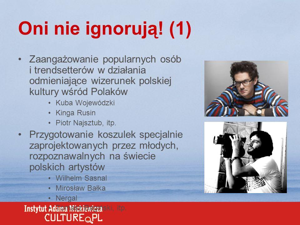 Oni nie ignorują! (1) Zaangażowanie popularnych osób i trendsetterów w działania odmieniające wizerunek polskiej kultury wśród Polaków.
