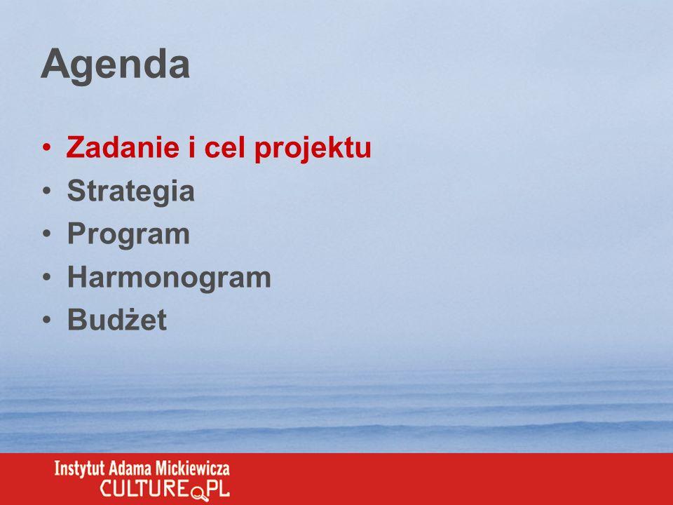 Agenda Zadanie i cel projektu Strategia Program Harmonogram Budżet