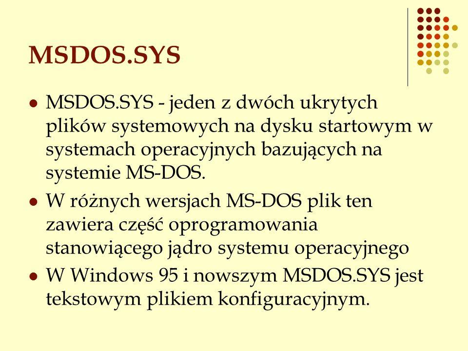 MSDOS.SYS MSDOS.SYS - jeden z dwóch ukrytych plików systemowych na dysku startowym w systemach operacyjnych bazujących na systemie MS-DOS.