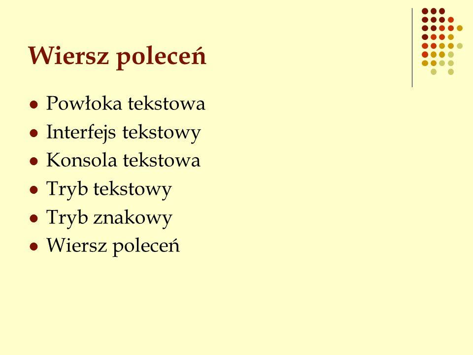 Wiersz poleceń Powłoka tekstowa Interfejs tekstowy Konsola tekstowa