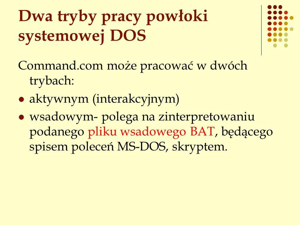Dwa tryby pracy powłoki systemowej DOS