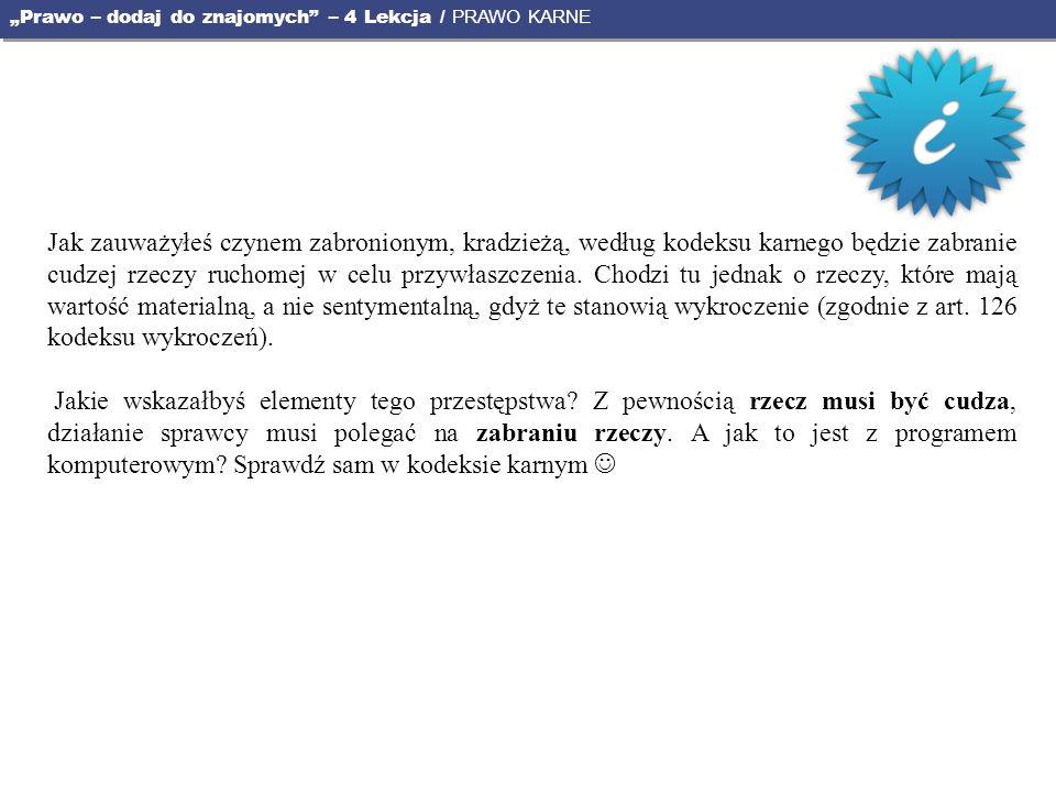 """""""Prawo – dodaj do znajomych – 4 Lekcja / PRAWO KARNE"""