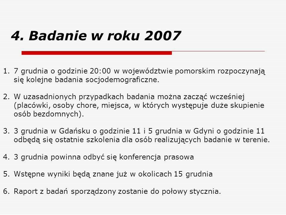 4. Badanie w roku 20077 grudnia o godzinie 20:00 w województwie pomorskim rozpoczynają się kolejne badania socjodemograficzne.