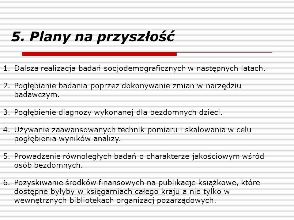 5. Plany na przyszłośćDalsza realizacja badań socjodemograficznych w następnych latach.