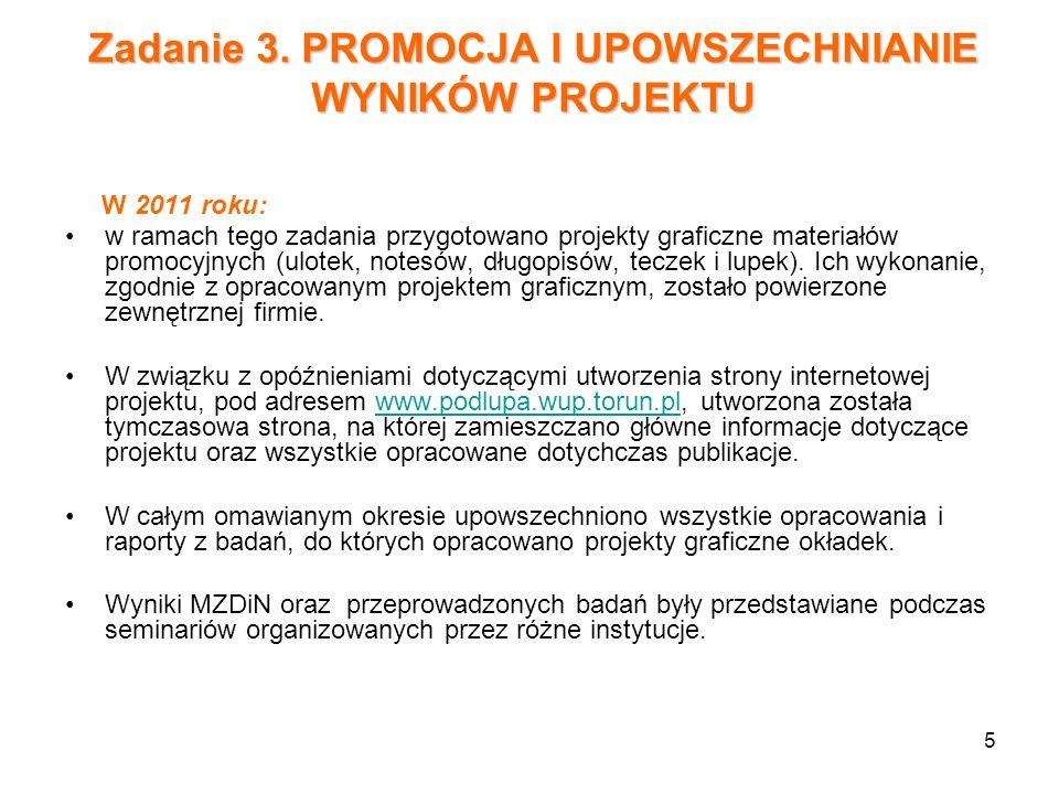 Zadanie 3. PROMOCJA I UPOWSZECHNIANIE WYNIKÓW PROJEKTU
