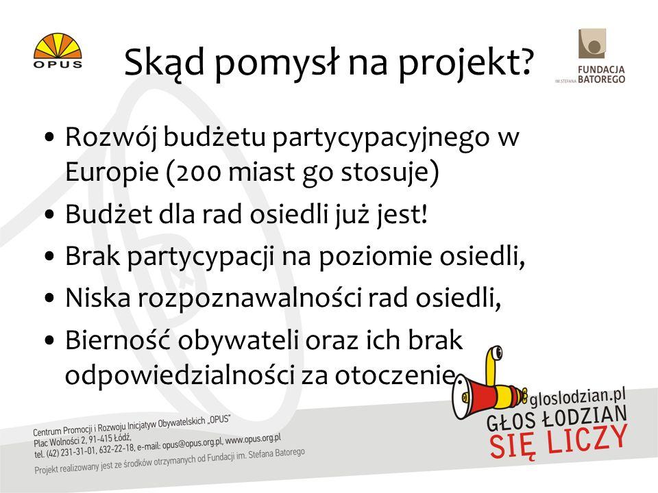 Skąd pomysł na projekt Rozwój budżetu partycypacyjnego w Europie (200 miast go stosuje) Budżet dla rad osiedli już jest!