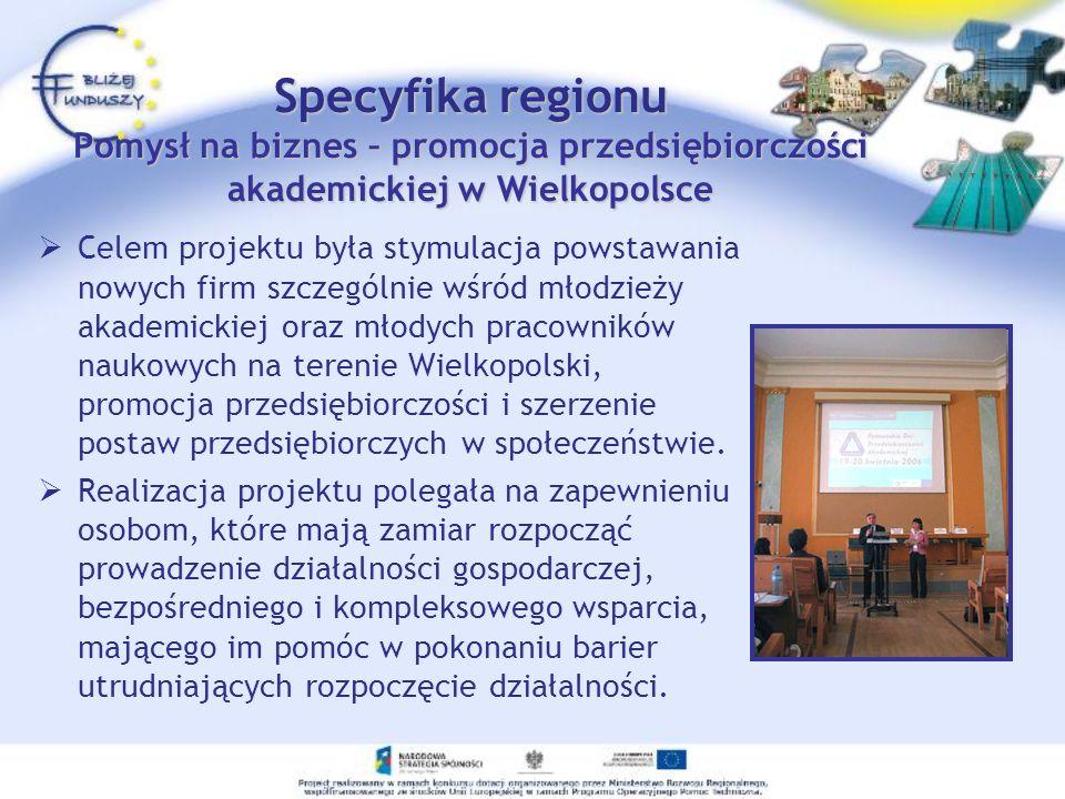 Specyfika regionu Pomysł na biznes – promocja przedsiębiorczości akademickiej w Wielkopolsce