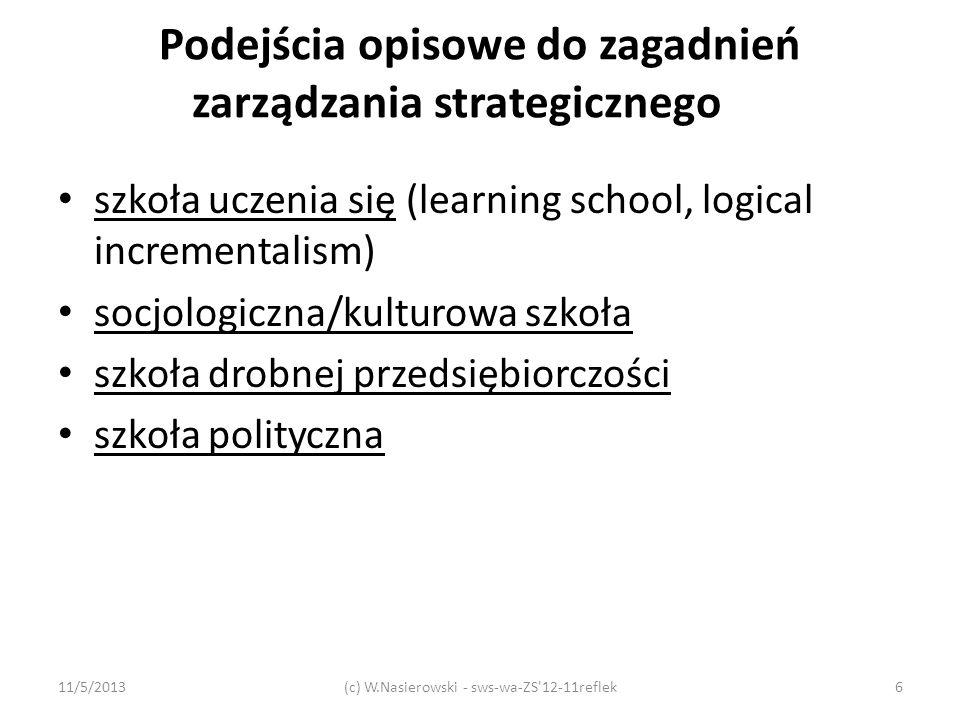 Podejścia opisowe do zagadnień zarządzania strategicznego