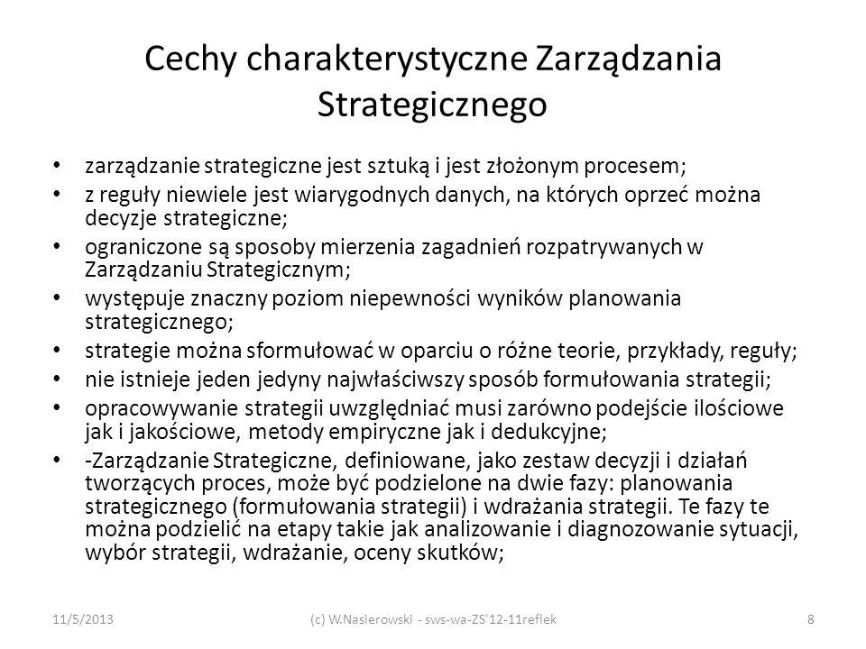 Cechy charakterystyczne Zarządzania Strategicznego