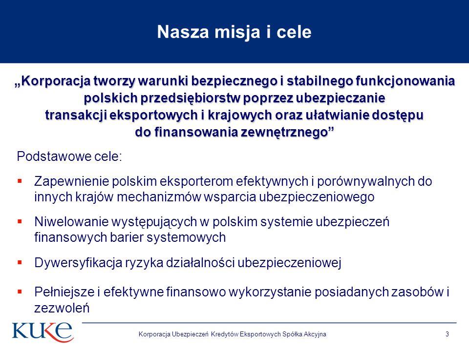 """Nasza misja i cele """"Korporacja tworzy warunki bezpiecznego i stabilnego funkcjonowania. polskich przedsiębiorstw poprzez ubezpieczanie."""