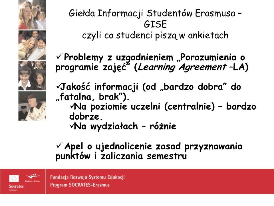 Giełda Informacji Studentów Erasmusa – GISE czyli co studenci piszą w ankietach