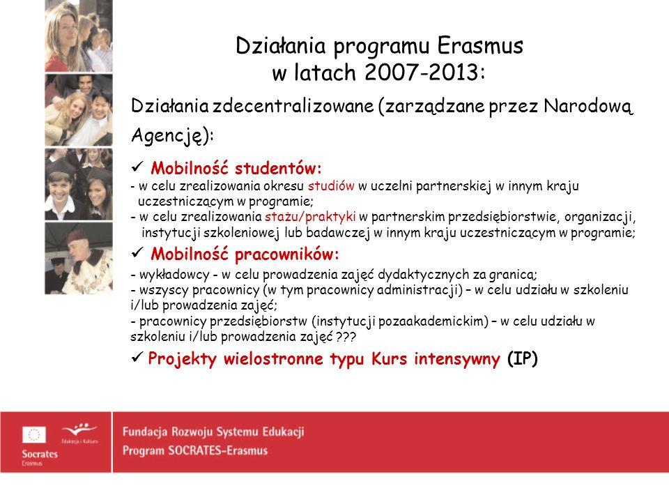 Działania programu Erasmus w latach 2007-2013: