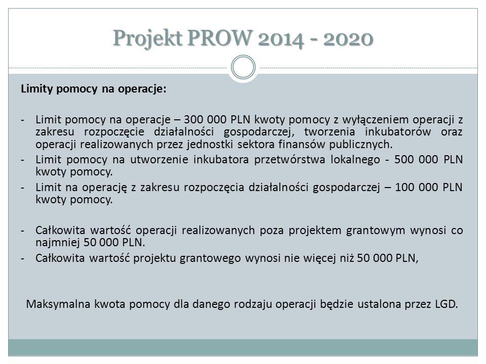 Projekt PROW 2014 - 2020 Limity pomocy na operacje: