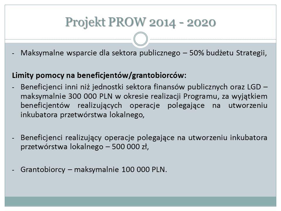 Projekt PROW 2014 - 2020 Maksymalne wsparcie dla sektora publicznego – 50% budżetu Strategii, Limity pomocy na beneficjentów/grantobiorców: