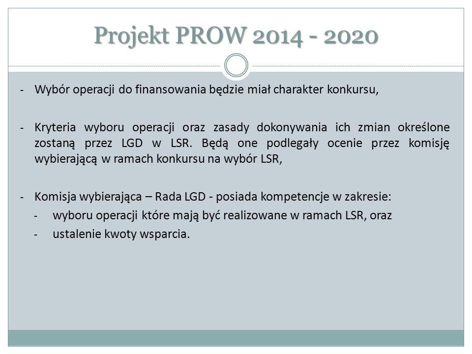 Projekt PROW 2014 - 2020 Wybór operacji do finansowania będzie miał charakter konkursu,