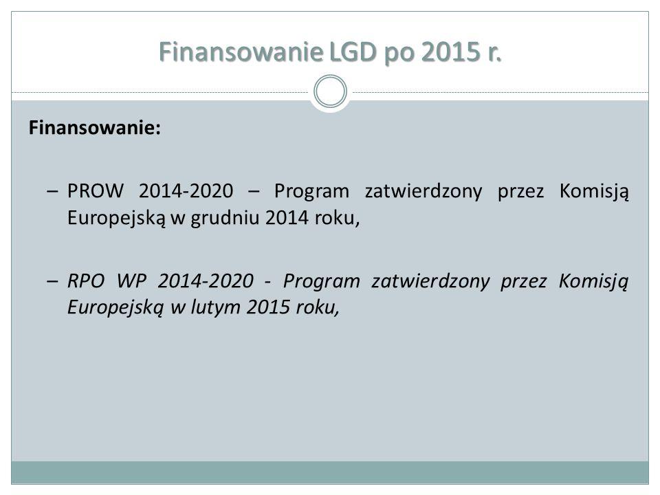 Finansowanie LGD po 2015 r. Finansowanie: