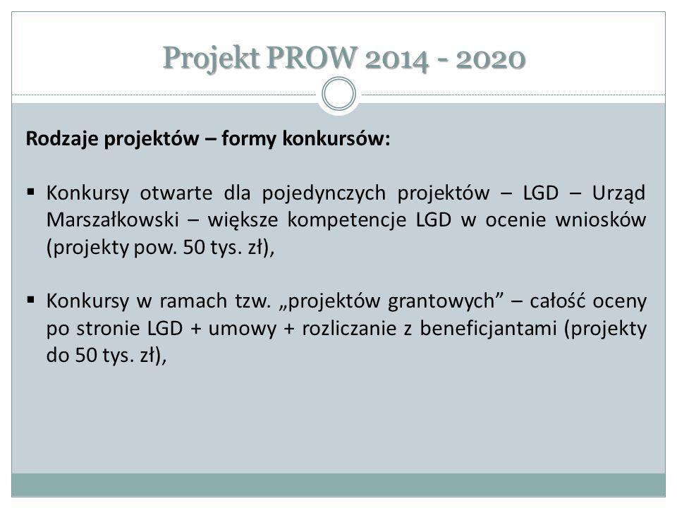 Projekt PROW 2014 - 2020 Rodzaje projektów – formy konkursów: