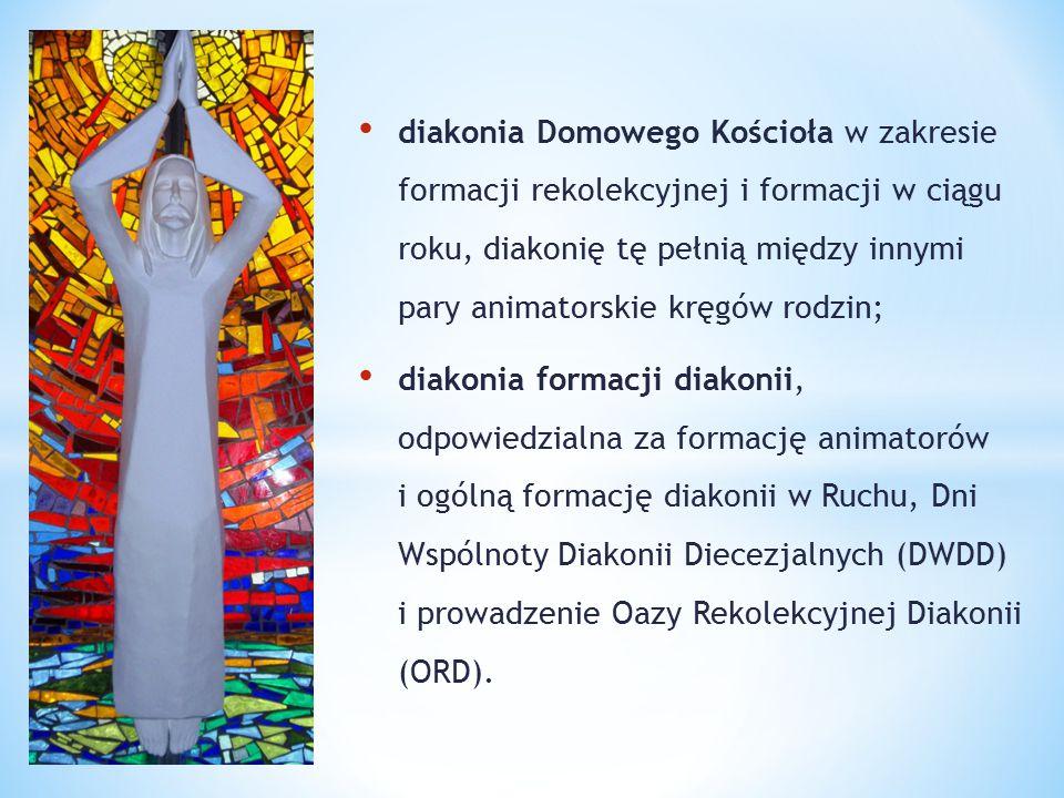 diakonia Domowego Kościoła w zakresie formacji rekolekcyjnej i formacji w ciągu roku, diakonię tę pełnią między innymi pary animatorskie kręgów rodzin;