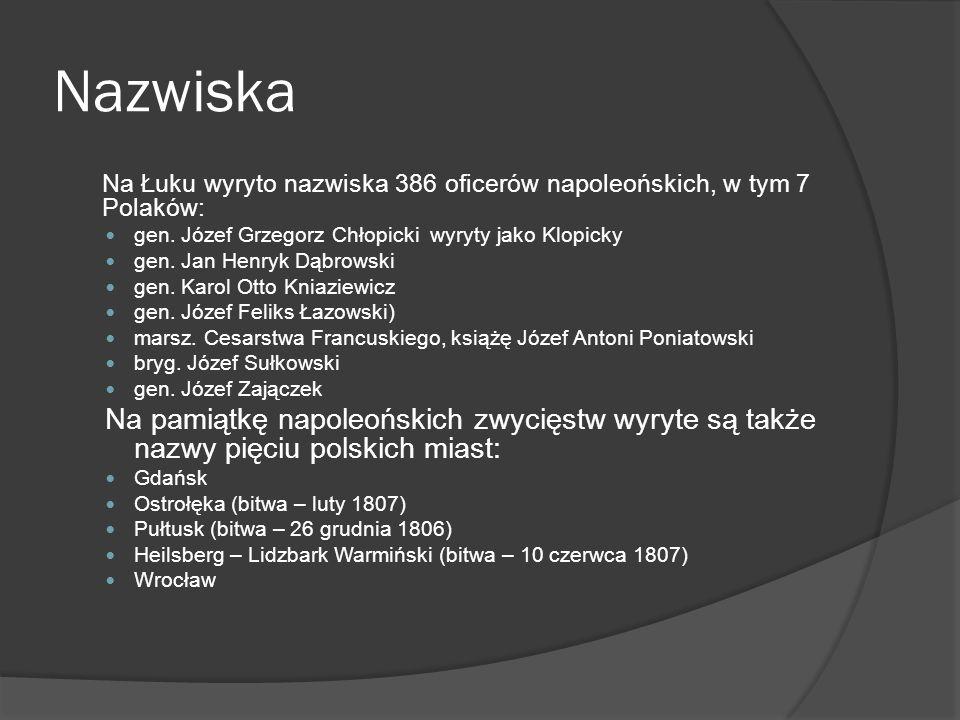 Nazwiska Na Łuku wyryto nazwiska 386 oficerów napoleońskich, w tym 7 Polaków: gen. Józef Grzegorz Chłopicki wyryty jako Klopicky.