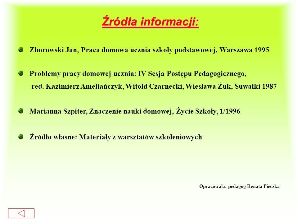 Źródła informacji: Zborowski Jan, Praca domowa ucznia szkoły podstawowej, Warszawa 1995.