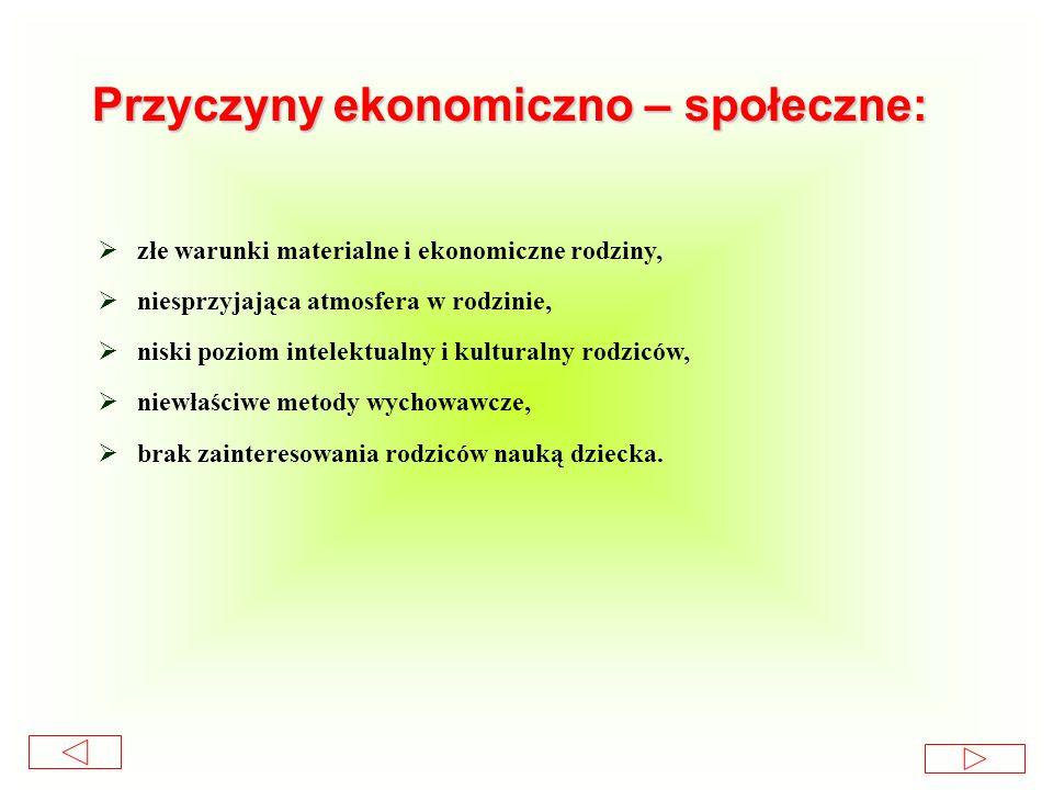 Przyczyny ekonomiczno – społeczne: