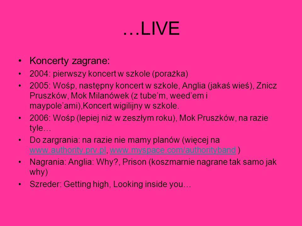 …LIVE Koncerty zagrane: 2004: pierwszy koncert w szkole (porażka)