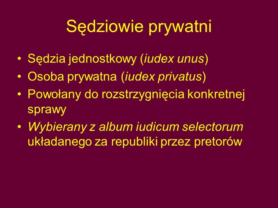 Sędziowie prywatni Sędzia jednostkowy (iudex unus)