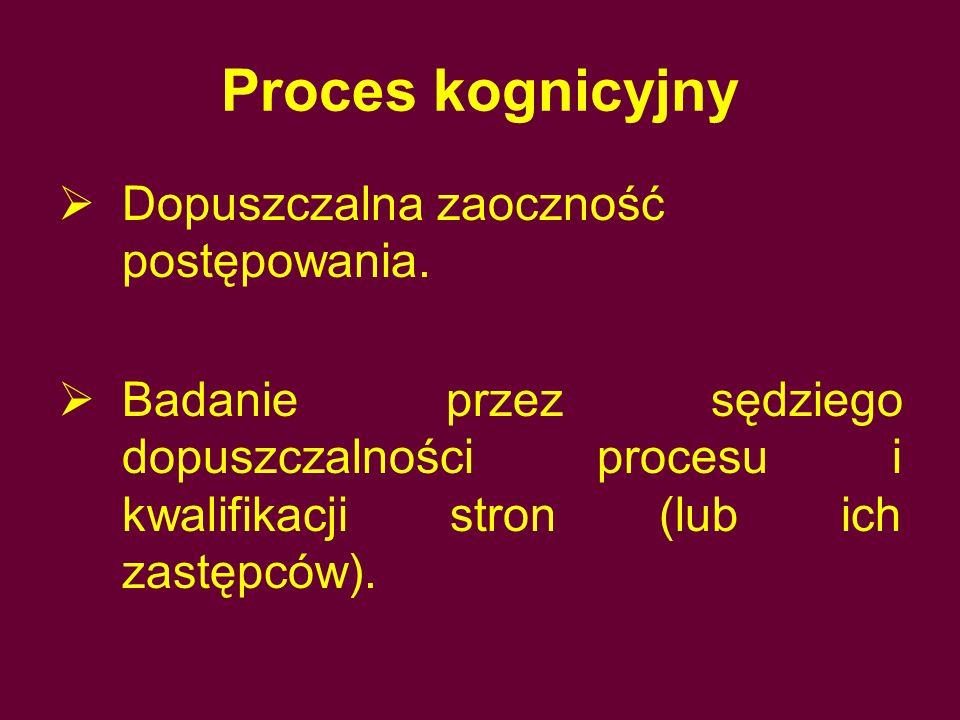 Proces kognicyjny Dopuszczalna zaoczność postępowania.