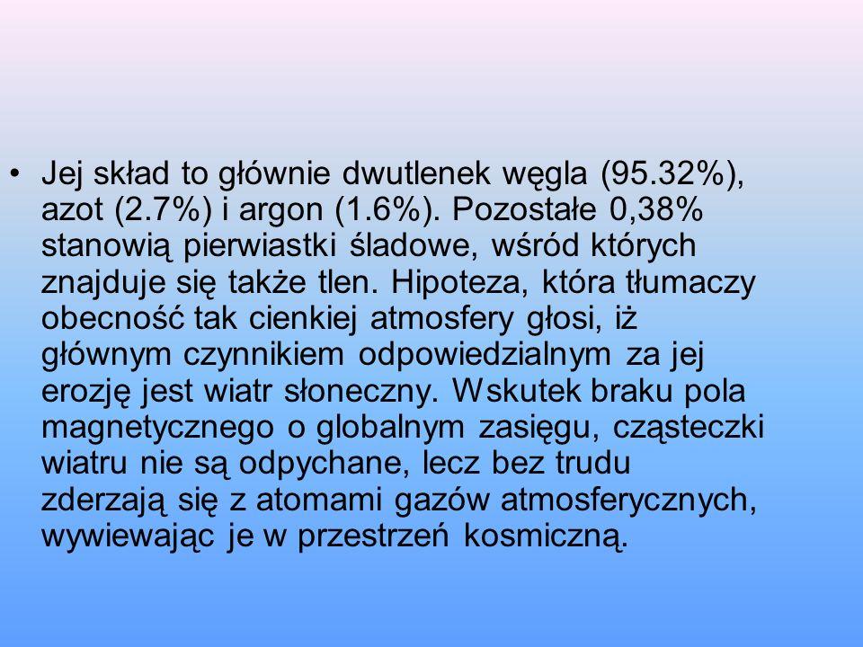 Jej skład to głównie dwutlenek węgla (95.32%), azot (2.7%) i argon (1.6%).