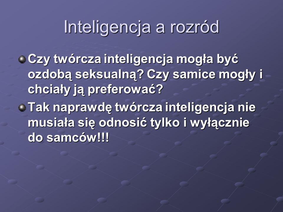 Inteligencja a rozród Czy twórcza inteligencja mogła być ozdobą seksualną Czy samice mogły i chciały ją preferować