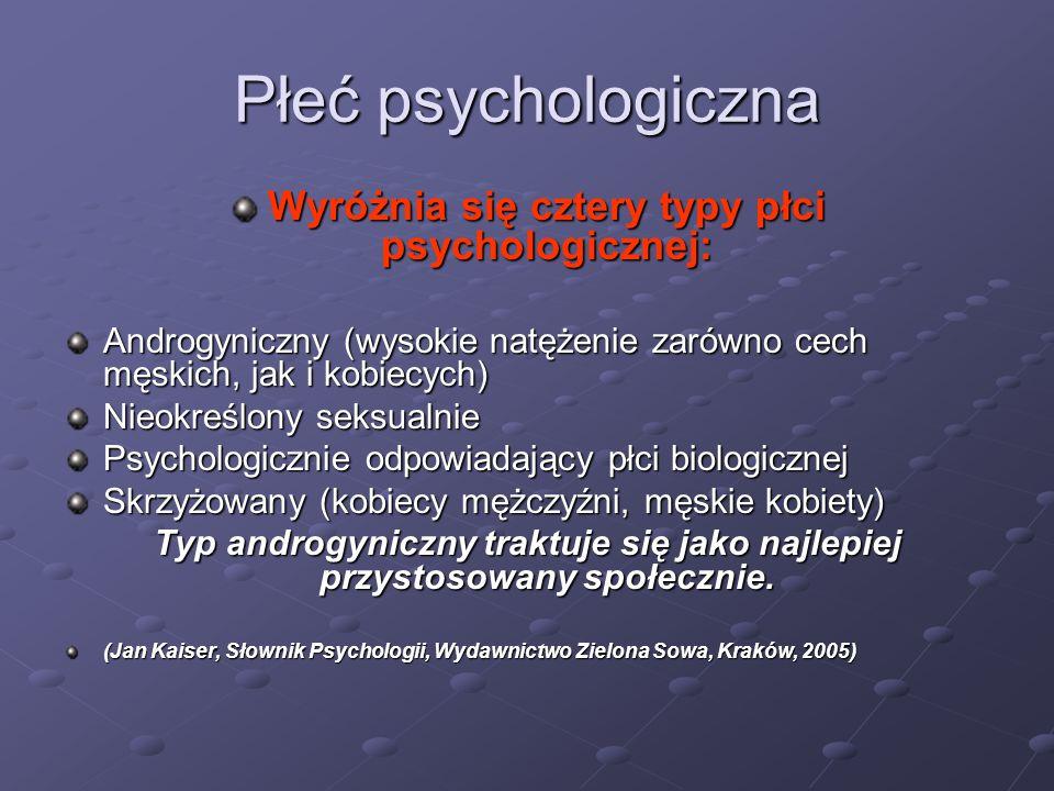 Wyróżnia się cztery typy płci psychologicznej: