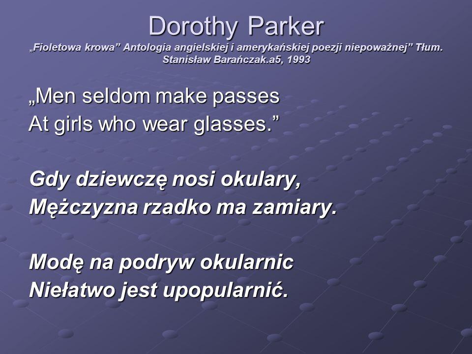 """Dorothy Parker """"Fioletowa krowa Antologia angielskiej i amerykańskiej poezji niepoważnej Tłum. Stanisław Barańczak.a5, 1993"""