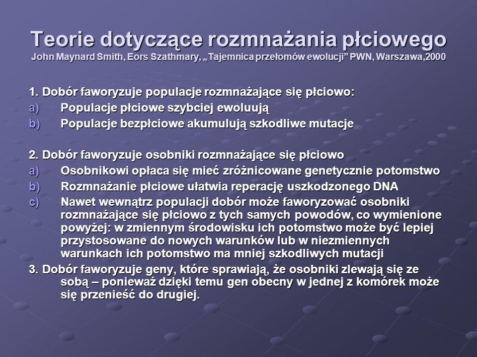 """Teorie dotyczące rozmnażania płciowego John Maynard Smith, Eors Szathmary, """"Tajemnica przełomów ewolucji PWN, Warszawa,2000"""