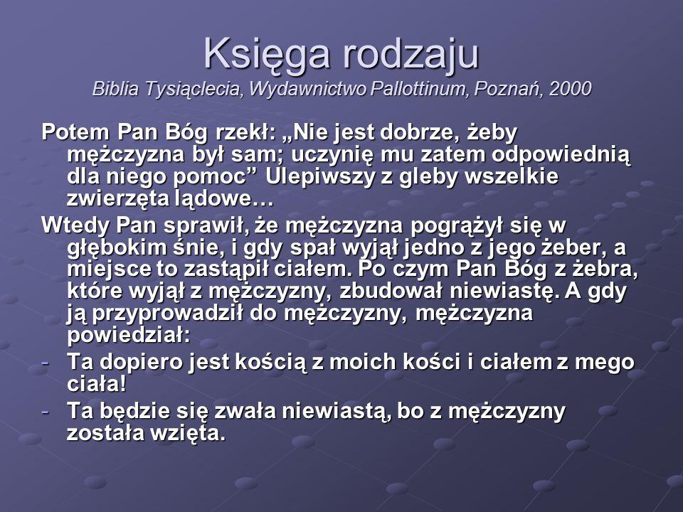 Księga rodzaju Biblia Tysiąclecia, Wydawnictwo Pallottinum, Poznań, 2000