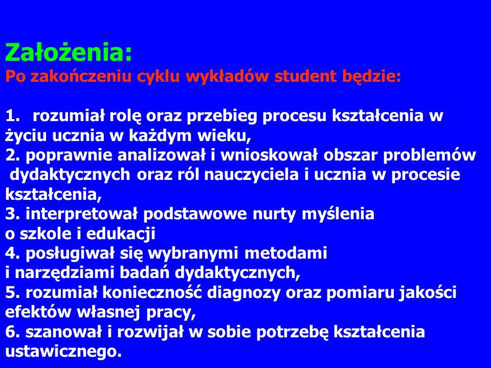 Założenia: Po zakończeniu cyklu wykładów student będzie:
