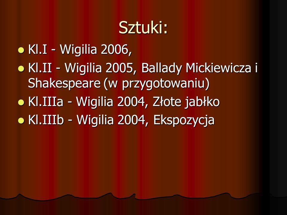 Sztuki: Kl.I - Wigilia 2006, Kl.II - Wigilia 2005, Ballady Mickiewicza i Shakespeare (w przygotowaniu)
