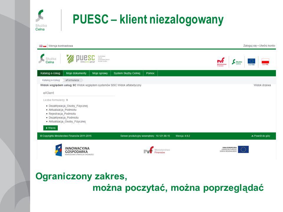 PUESC – klient niezalogowany
